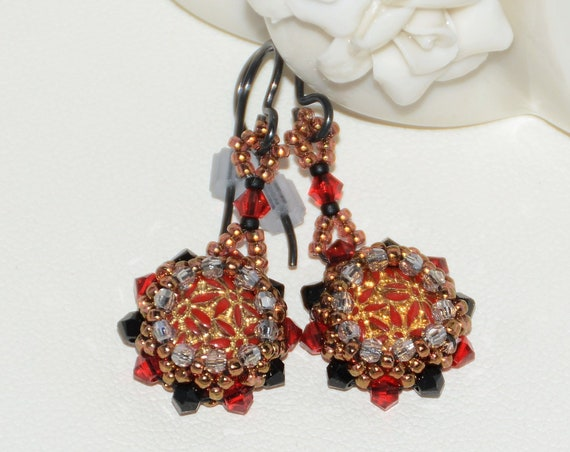 Hand Beaded Vintage Bezeled Cabochon Earrings - Red