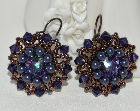 Sparkly Hand Beaded 14mm Swarovski Rivoli with Swarovski Round Pearl Earrings -  Vitrail Light/Purple