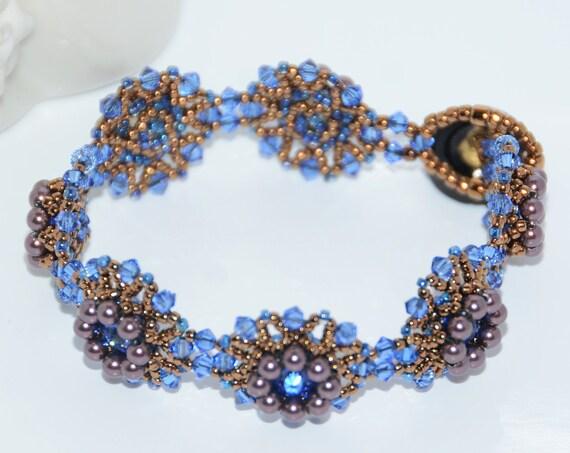 Sparkly Hand Beaded Swarovski Bracelet - Sapphire/Bronze