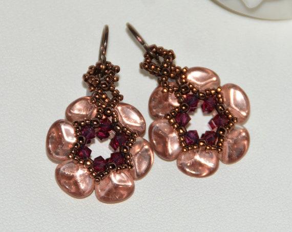 Beautiful Handmade Czech Rose Petal Earrings - Apoolo Gold/Ruby