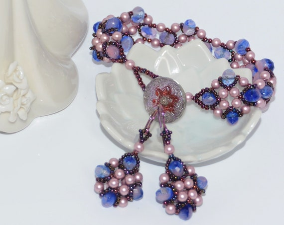 Art Deco Style Czech Rondell with Swarovski Pearl and 18mm Czech Glass Button Clasp (Set-Bracelet and Earrings) - Rose Quarts Serenity