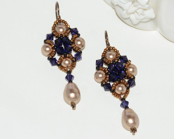 Art Deco Style Beaded Earrings with Swarovski Crystals and Pearls - Purple Velvet