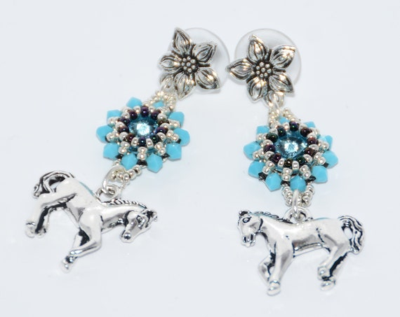 Silver Horse Lovers Hand Beaded Post Dangle Earrings - Turquoise/Antique Silver