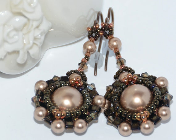 Hand Beaded Dangle Earrings with 10mm Swarovski Crystal Pearl, Half Tila and Swarovski Crystals -Bronze