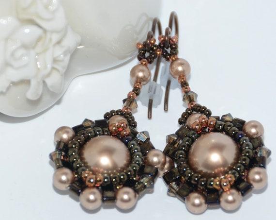 Hand Beaded Dangle Earrings with 10mm Swarovski Crystal Pearl, Half Tila and Swarovski Crystals -Bronze