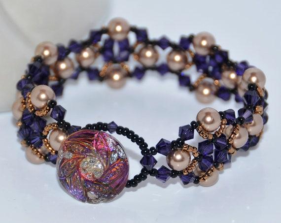 Art Deco Style Beaded Swarovski Crystals and Pearls with Elegant Czech Glass Button Bracelet - Purple Velvet