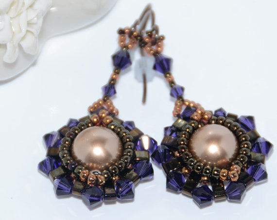 Hand Beaded Dangle Earrings with 10mm Swarovski Crystal Pearl, Half Tila and Swarovski Crystals - Bronze Pearl, Purple Velvet Crystals