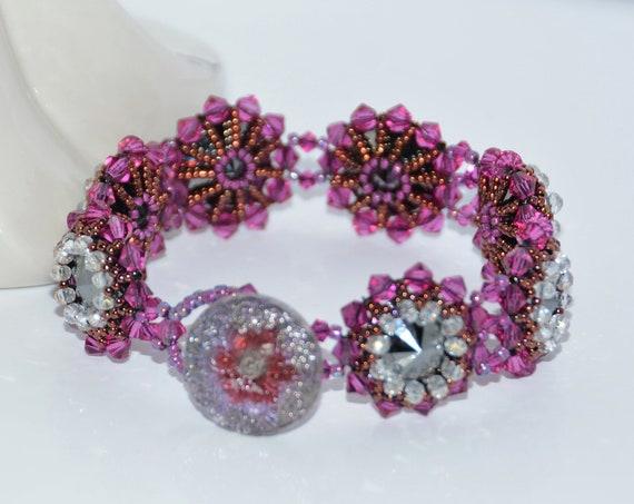 Shimmering Fuchsia Hand Beaded Swarovski Crystal Rivoli  Bracelet