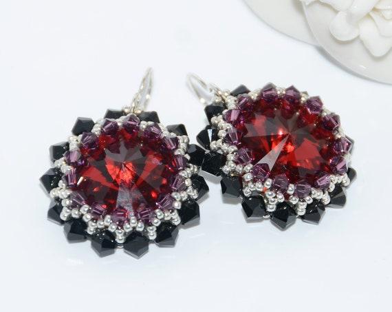 Hand Beaded 18mm Scarlet Swarovski Rivoli Earrings with Swarovski Crystals
