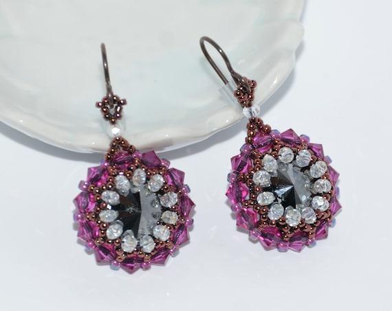 Shimmering Fuchsia Hand Beaded Swarovski Crystal Rivoli Earrings