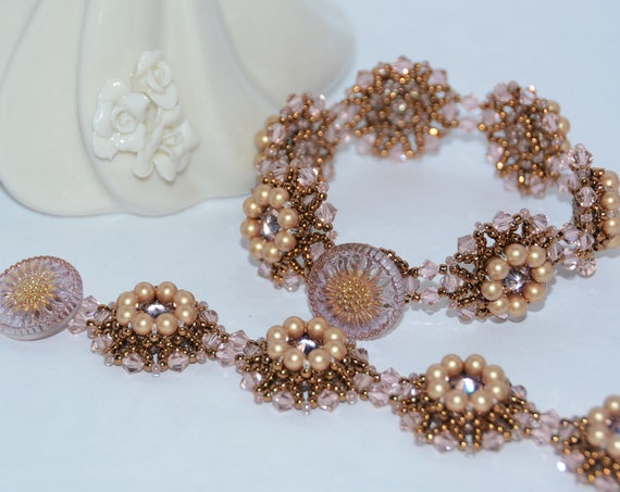 Sparkly Hand Beaded Swarovski Rivoli with Elegant Czech Glass Button Clasp Bracelet - Vintage Rose