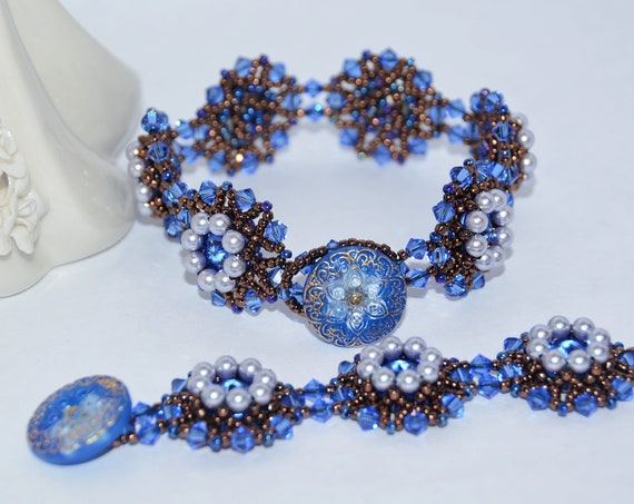 Sparkly Hand Beaded Swarovski Rivoli with Elegant Czech Glass Button Clasp Bracelet - Sapphie