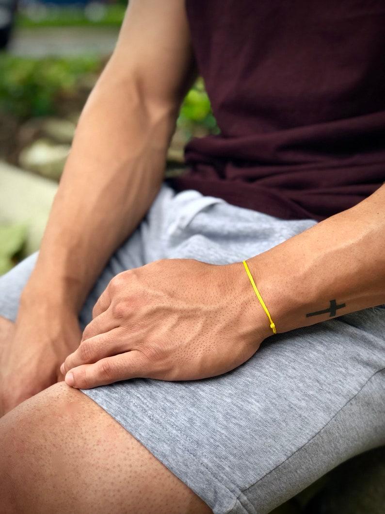 Unisex String Bracelet Men Friendship Bracelet Adjustable Cord Slip knot Bracelet, Yellow Cord Bracelet Mens