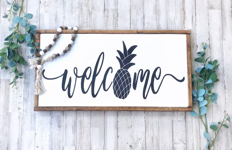 Welcome Sign Front Door Pineapple Decor