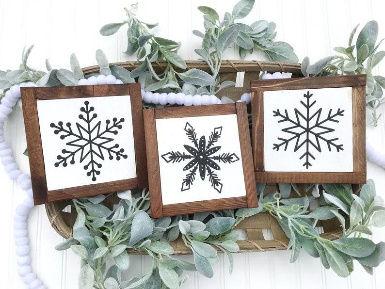 Snowflake wood signs set of 3 / shelf sitter / farmhouse image 0