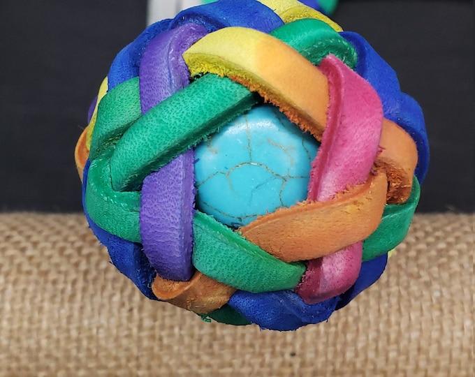 Hand Dyed Rainbow flogger with rainbow knots