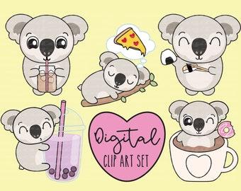 25236fbcc Koalas Love Snacks Digital Clip Art Set, Digital Coffee Stickers, Kawaii  Koala Digital Stickers, Hand-Drawn Clip Art