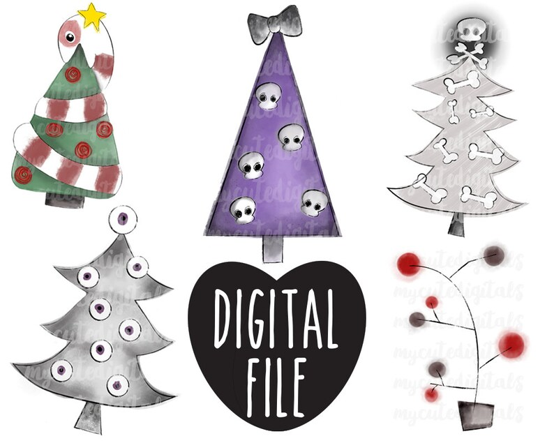 Tall Christmas Tree Clipart.Creepy Christmas Tree Clipart Skull Christmas Tree Digital Spooky Christmas Instant Download Hand Drawn Clipart