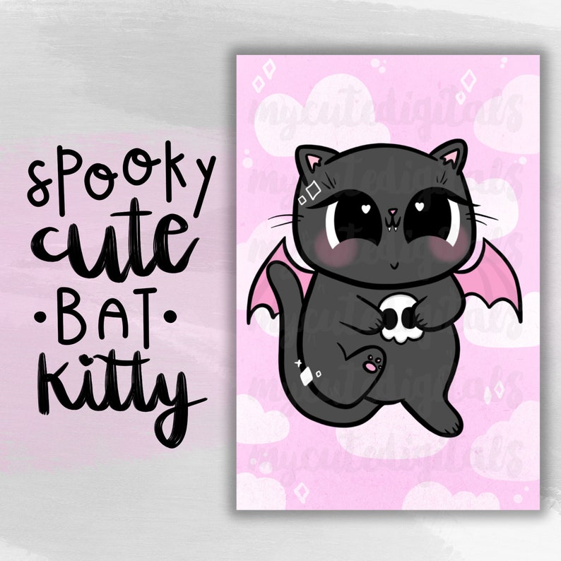 graphic about Kitty Printable referred to as Bat Kitty Electronic Dashboard, Spooky Lovable Kitty Printable, Hand-Drawn Electronic