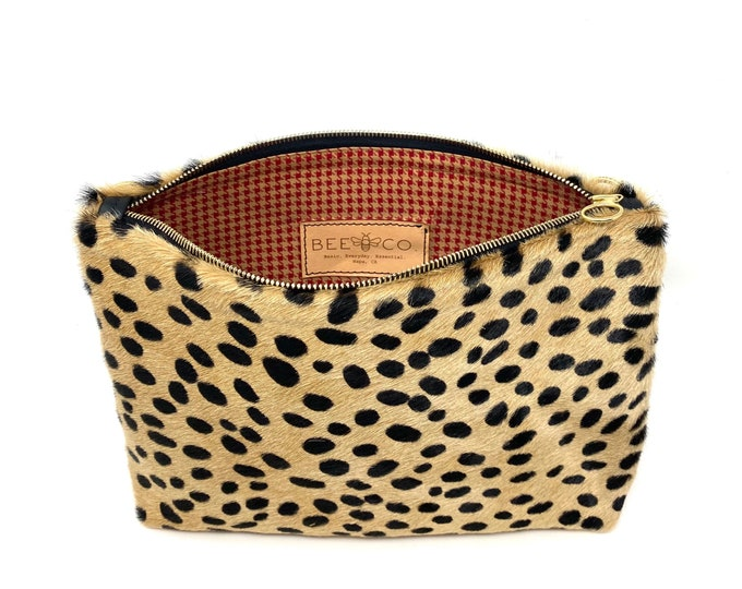 Featured listing image: Frances Bag Cheetah  one-of-a-kind vintage fabric lined clutch or crossbody purse