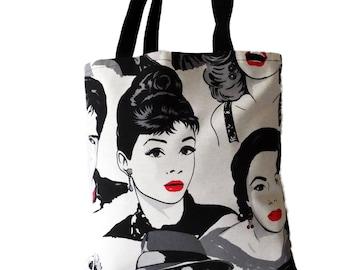 bab51b3dd5797 Tasche Shopper Shopping ashash tote bag shoulder bag with Audrey Hepburn
