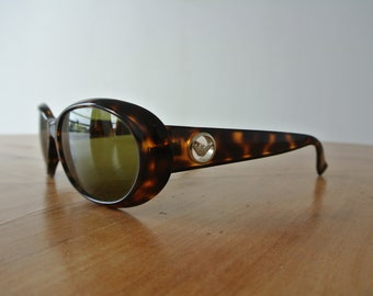 d41dd51541a Vintage ARMANI 1990 Brown Tortoise Green Tinted Inlay Sunglasses