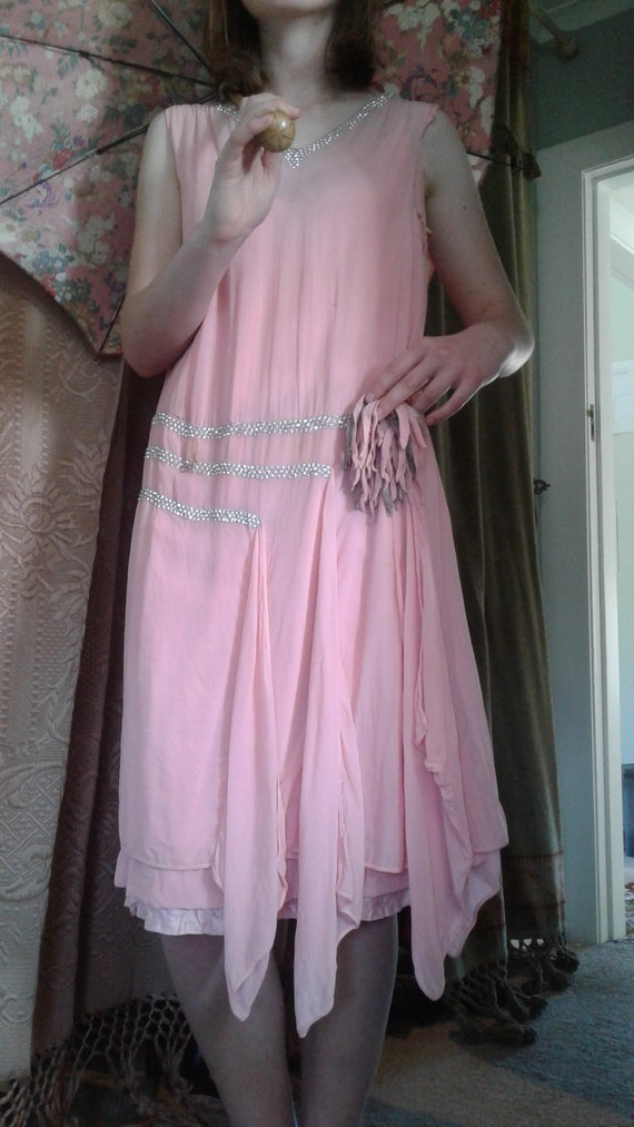 vintage 1920s pink chiffon dress with diamantes