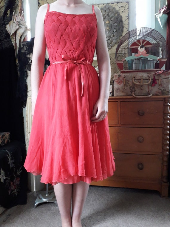 1950s red chiffon dress