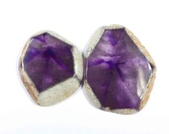 High Quality Natural Amethyst Lot Cabochon Gemstone Amethyst Loose stones For jewelry 06 Pcs 92 Cts N-9597 Purple Amethyst Gemstone
