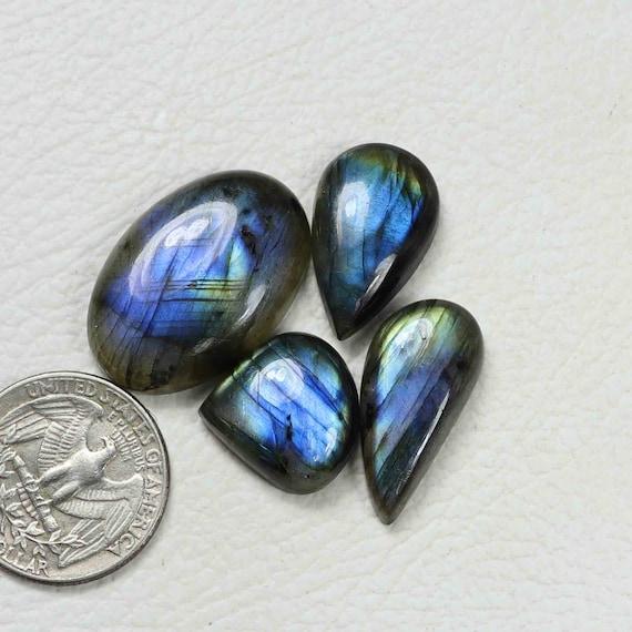 Natural Blue And Yellow Fire Labradorite Specrolite Cabochons 3 Piece Labradorite Jewelry Making Loose Gemstone #AB3893
