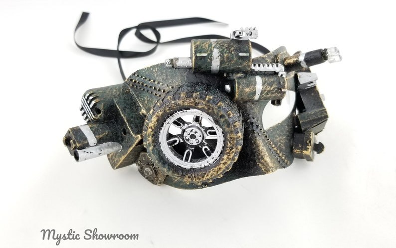 Steampunk flashing LED face mask military green with speckles of GOLD