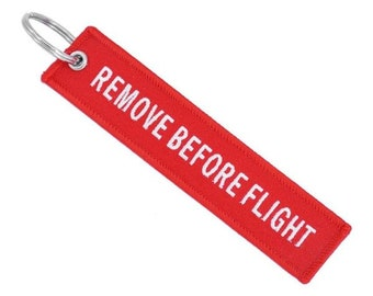 Remove Before Flight Pilot Bomber Jacket Red Keychain Tag 13ee0dac59