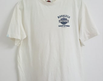 2180a87caef Vintage White Harley Davidson Honolulu Hawaii cotton Tshirt