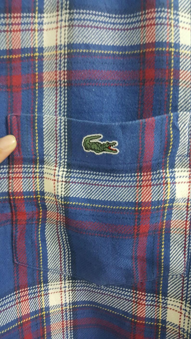 fff2b671b33bb Mens Vintage CHAMISE LACOSTE Button Down Shirt Plaid sz 3