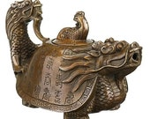 Vintage Chinese Pure Brass Copper Dragon Tea Pot Flagon Handmade Artwork Decor Tea Pot