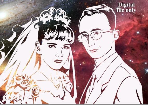 Sentimental Gift To Boyfriend Digital Vector Portrait