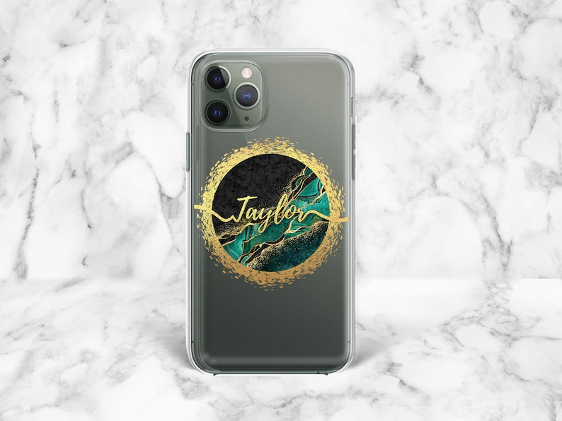 Personalized iPhone 12 Case iPhone 11 Pro Case iPhone XS Max Case Samsung S10e Case Green Samsung S10 Plus Gold Marble Samsung S20 Ultra