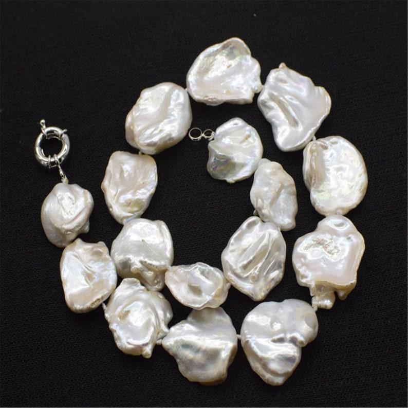 "freshwater pearl purple reborn keshi flat 16*18mm necklace 18/"" wholesale beads"