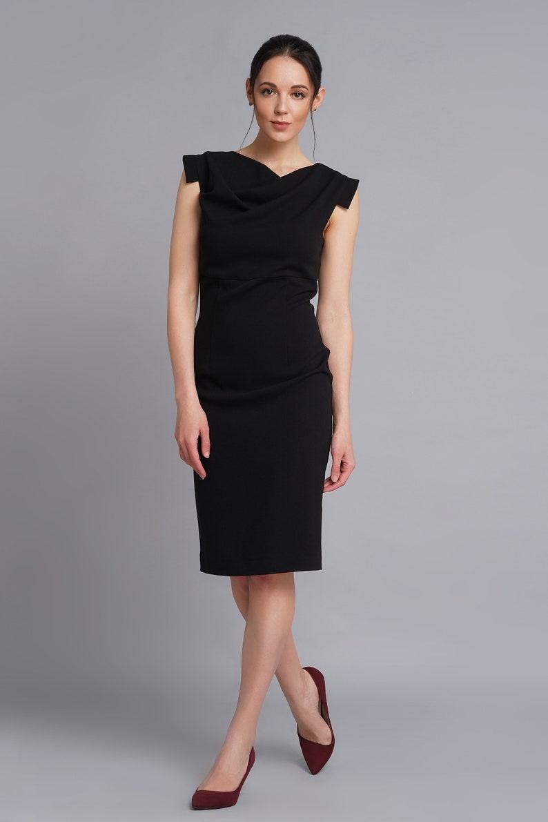 Asymmetrical draped bust dress Little black dress Sheath hTVgSugI