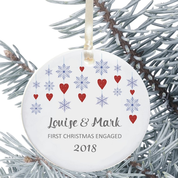 Ceramic Christmas Tree Decorations.Christmas Tree Decoration First Christmas Engaged Personalised Holiday Ornament Ceramic Keepsake Snowflake And Heart Design