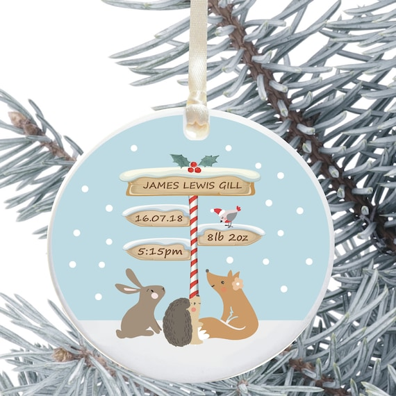 Ceramic Christmas Tree Decorations.Baby S First Christmas Tree Decoration Personalised Holiday Ornament Ceramic Keepsake Xmas Decoration Birth Details Signpost