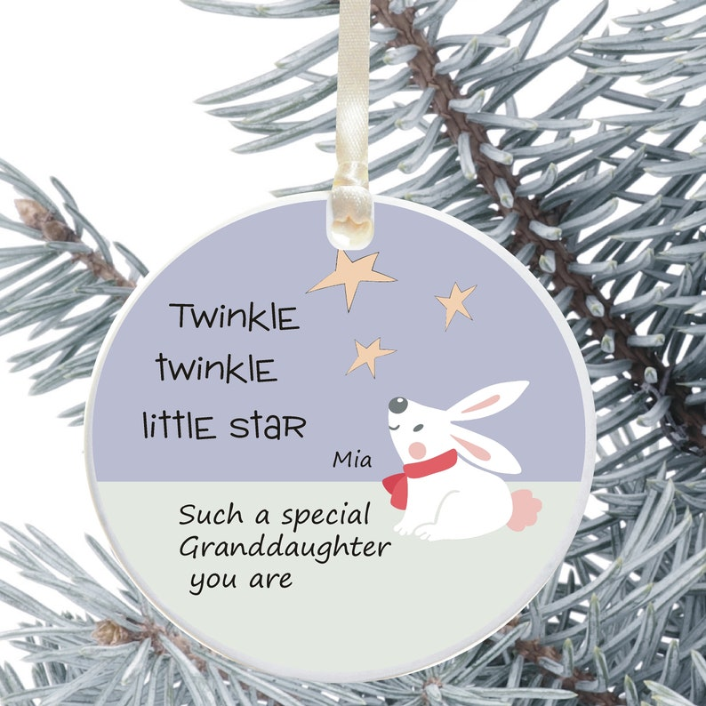Ceramic Christmas Tree Decorations.Personalised Ceramic Christmas Tree Decoration For A Granddaughter Personalised Holiday Ornament Gift From Grandparents Cute Bunny