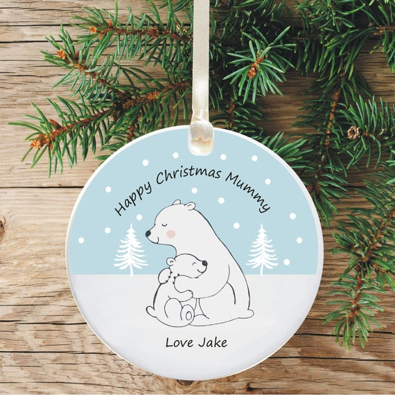 Ceramic Christmas Tree Decorations.Personalised Ceramic Christmas Tree Decoration For Mum Personalised Holiday Ornament Gift From Son Or Daughter Polar Bear Design