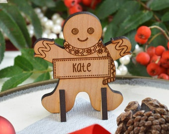 Personalised Gingerbread Man Christmas Place Names, Wooden Christmas Place Name, Festive Place Names, Luxury Table Decorations