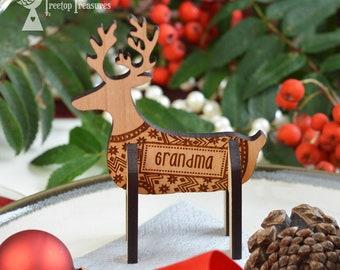 Personalised Reindeer Christmas Place Names, Wooden Christmas Place Name, Stag Place Names, Luxury Reindeer Table Decorations