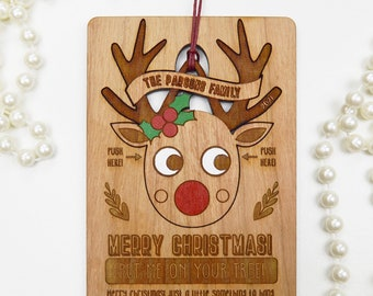 Personalised Wooden Postcard with Reindeer Decoration, Engraved Wooden Christmas Card, Reindeer Christmas Tree Decoration