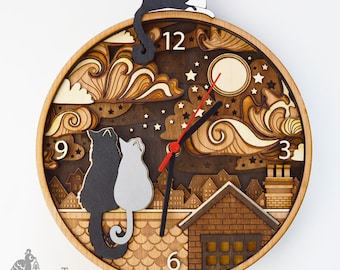 CUSTOM Rooftop Cats Layered Wooden Clock, Personalised Pet Cat Wooden Clock, Lasercut wooden clock, Cats on a Rooftop Wall Clock