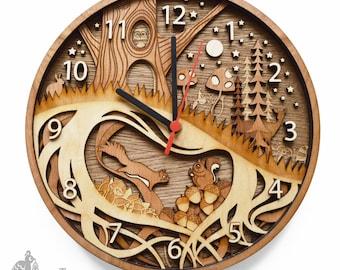 Personalised Layered Wooden Woodland Clock, Squirrel Clock, Woodland Creature Clock, Engraved Wooden Clock, Woodland Nursery Wall Clock