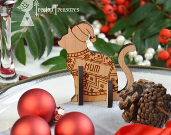 Personalised Cat Christmas Place Names, Wooden Christmas Place Name, Festive Cat Place Names, Luxury Table Decorations