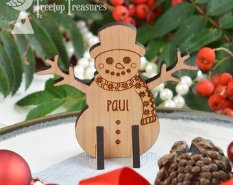 Personalised Snowman Christmas Place Names, Wooden Christmas Place Name, Festive Snowman Place Names, Luxury Table Decorations
